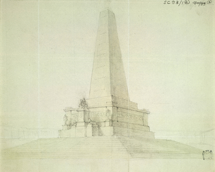 Wellington Testimonial, Phoenix Park 03 - Perspective Sketch (1815) by Sir Rober