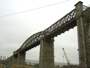 Trussed spans from north-east