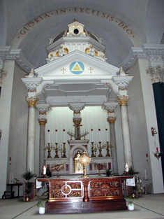 View of altar and fittings (including baldacchino).